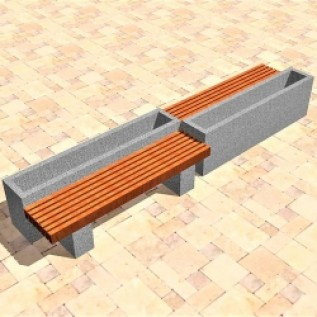 Скамейка на ж/б ножках МАФ 01.20
