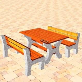 Скамейка на ж/б ножках МАФ 01.27