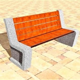 Скамейка на ж/б ножках МАФ 01.25